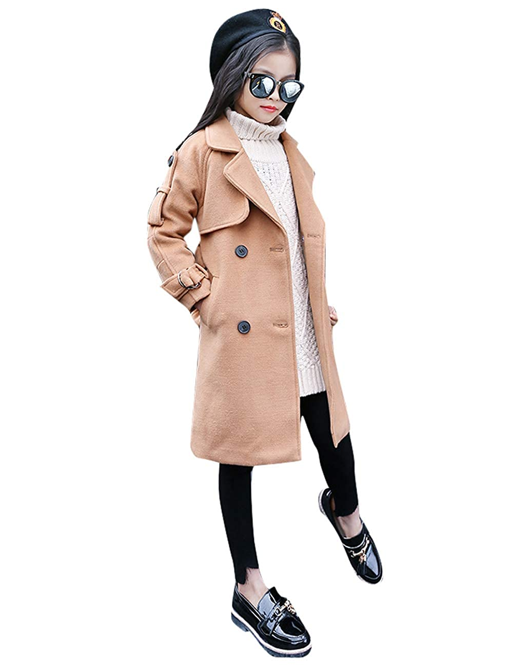 CUKKE Girls Woolen Coat Winter Dress-Coats Warm Jacket Overcoat Outerwear Wuxi Mokaya Trading Co. Ltd. CK-HZMC-1819