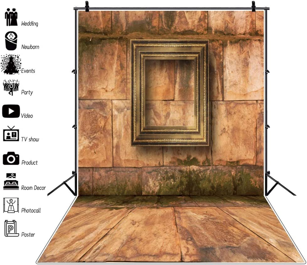 YEELE 8x10ft Victorian Style Backdrop Old Stone Room with Wooden Picture Frames Photography Background Kids Adults Artistic Portrait Photobooth Photoshoot Props Digital Wallpaper