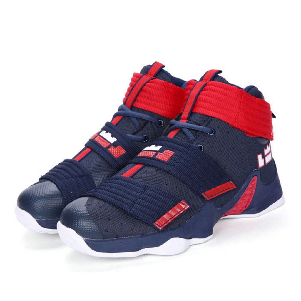 GAOLIXIA Unisex High Top Basketball Shoes Primavera Otoño Zapatos deportivos Breathable Mesh Sneakers Antideslizante Wear Shock-absorbbing Lovers Boots (Color : Blue Red, tamaño : 37) 37|Blue Red