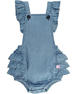 5a4245d92123 RuffleButts Baby Toddler Girls Light Wash Denim Flutter Overall Romper