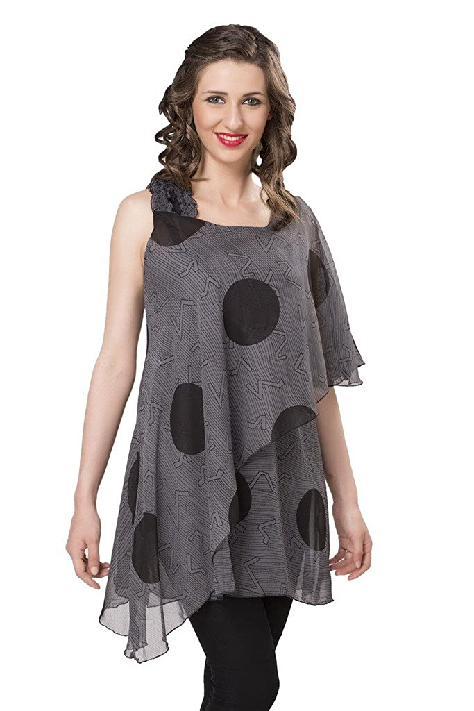 1fe879cb4457c Ishin Faux Georgette Sleeveless Women s Top (Indwt-5014 M  Grey  Medium)   Amazon.in  Clothing   Accessories