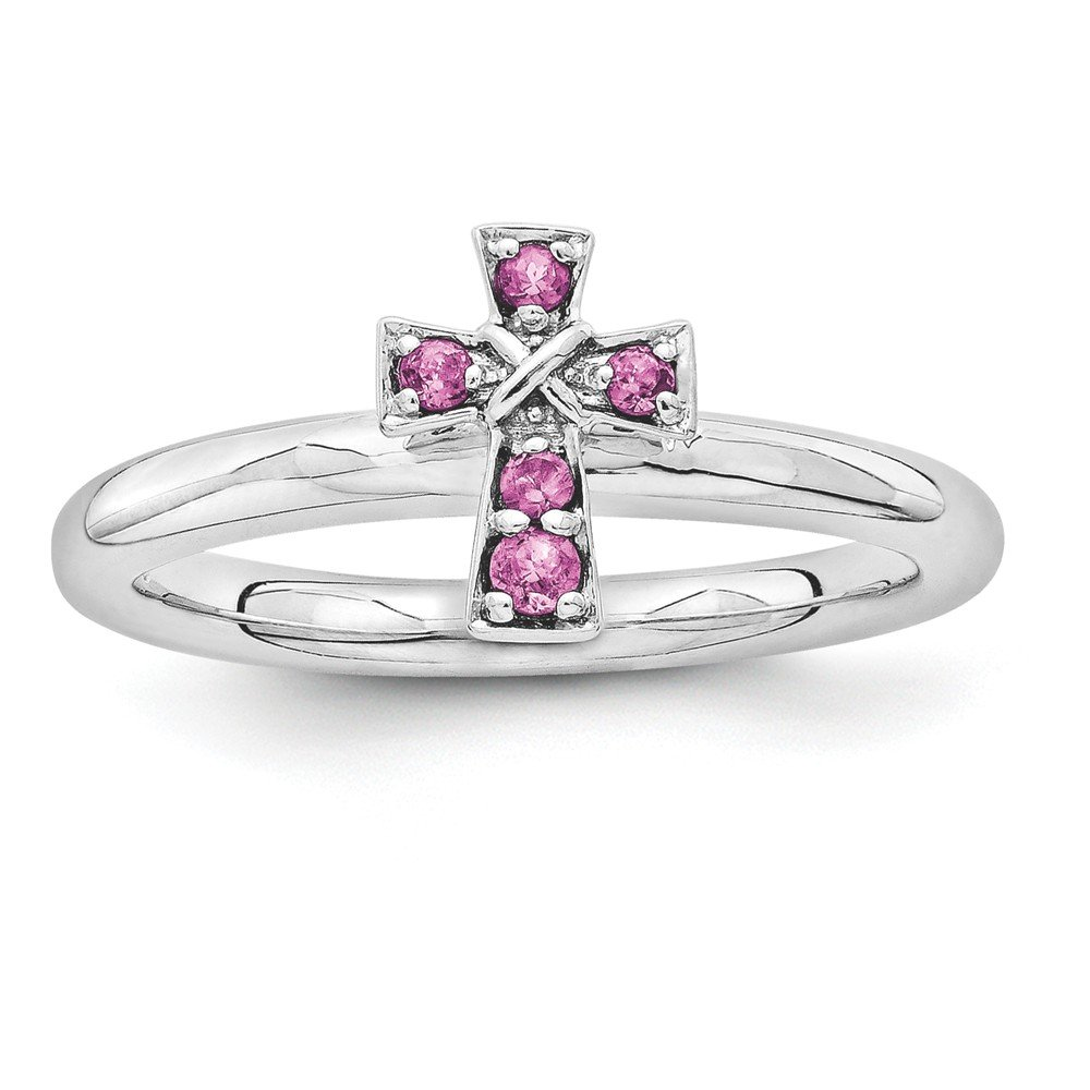Top 10 Jewelry Gift Sterling Silver Stackable Expressions Rhodium Rhodolite Garnet Cross Ring