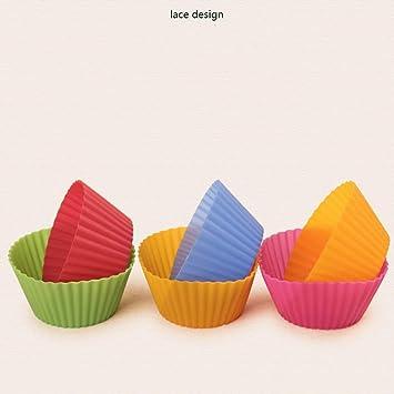 Revestimientos de Silicona para Cupcakes/Tazas para Hornear Hornos de microondas Molde de Gel de sílice para Hornear Tazas de moldes para Pasteles pequeños ...