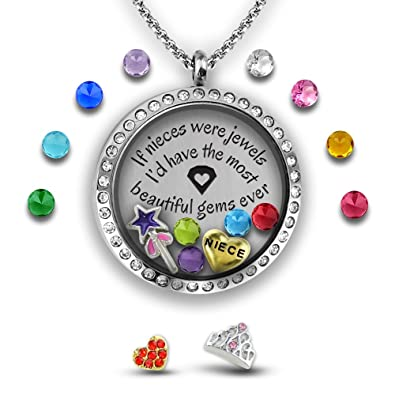 Amazon niece necklace floating locket necklace with floating amazon niece necklace floating locket necklace with floating locket charms diy jewelry gifts for girls teen girl gifts stainless steel 30mm aloadofball Choice Image