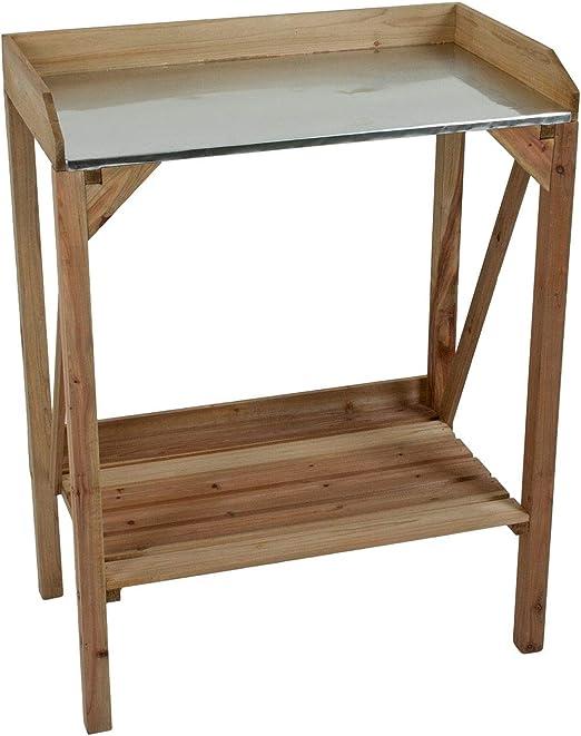Macetero mesa de madera con superficie de trabajo de metal: Amazon.es: Jardín