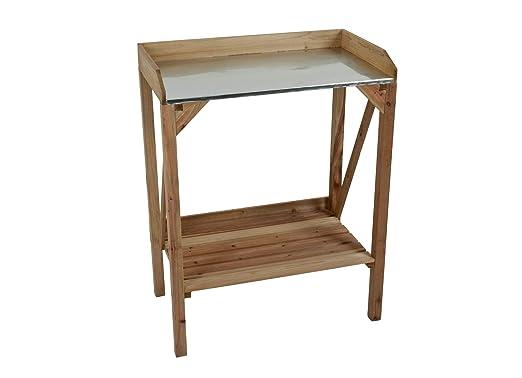 Macetero mesa de madera con superficie de trabajo de metal: Amazon ...