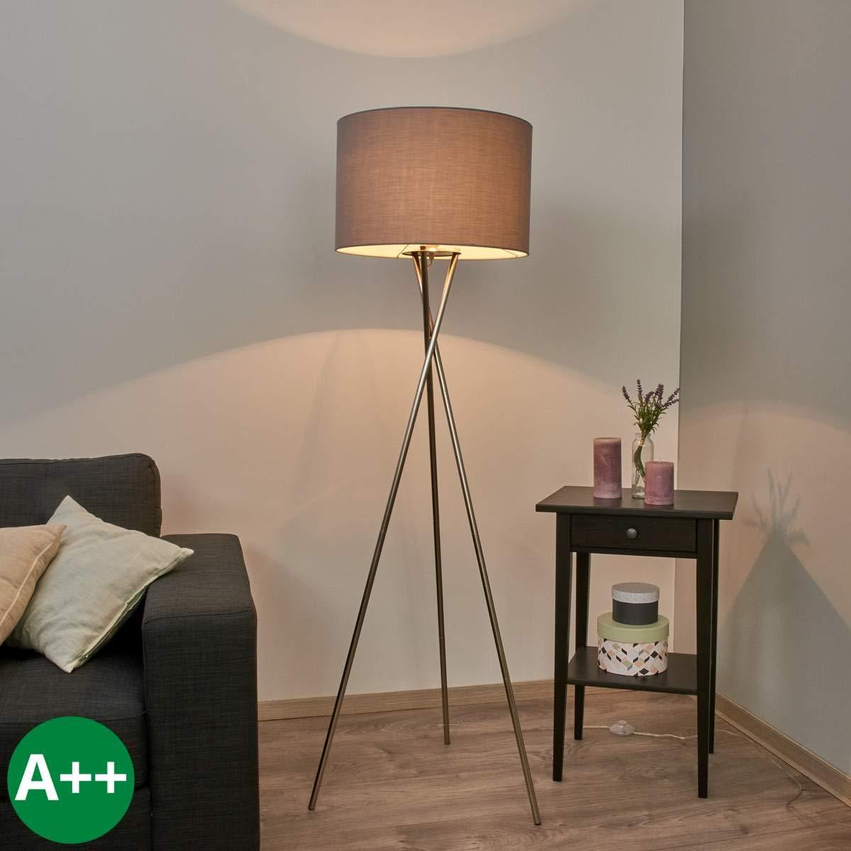 Lampenwelt Dreibein Stehlampe 'Fiby' (Modern) in Alu aus Textil u.a. für Wohnzimmer & Esszimmer (1 flammig, E27, A++) | Stehleuchte, Floor Lamp, Standleuchte, Wohnzimmerlampe, Tripod, Wohnzimmerlampe