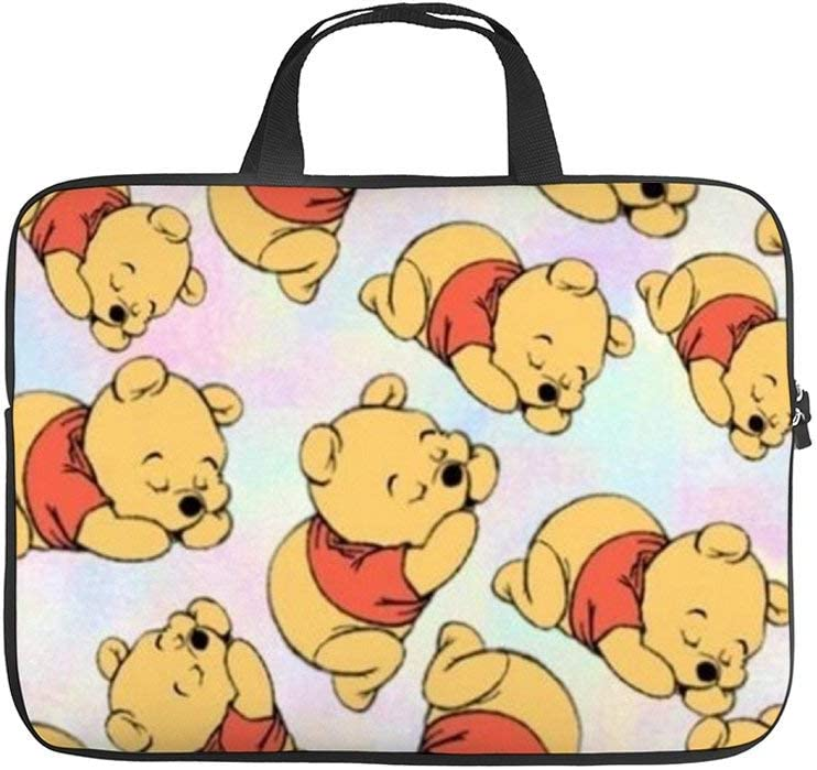 Cute Winnie Pooh Laptop Bag Protective Case Tote Notebook Computer Pocket Case Carrying Zipper Bag 10-17 Inch