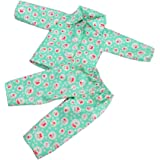 MagiDeal Pajamas PJS Clothes Green Cheery for 18'' American Girl Our Generation Doll