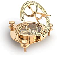 Collectibles Gallery Little India Brass Nautical Sun Dial Compass and Vernier Scale (305, Gold)
