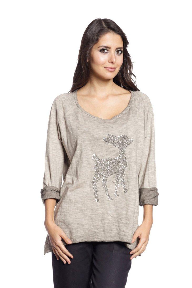 Abbino 6968 Basic Damen Shirt Top - Made in Italy - 4 Farben - Herbst  Winter Übergang Basic Damenshirt Damentop Baumwolle Pailletten Unifarbe  Lässig Langarm ...
