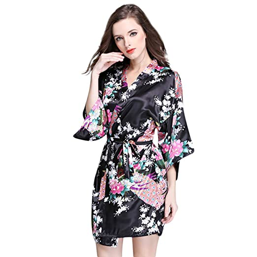 6d7a33d974 SUJING Women Kimono Bride Robe Ladies Half Sleeve Nightwear Short Bathrobe  Silk Bridal Robe Women Sleepwear