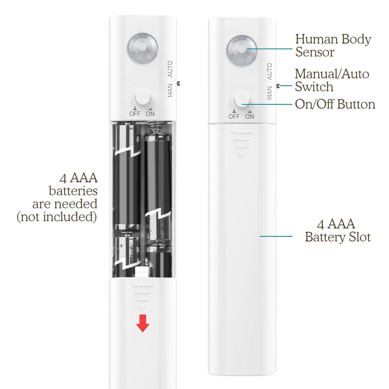 OCMCMO 30LED 1M tira luz cuerda,Luz Armario Luz LED Nocturna con Sensor de Movimiento para Pasillo Baño Armario Cocina(funciona con 4 pilas AAA, ...