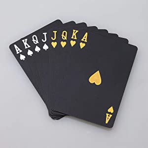 ACELION Waterproof Playing Cards, Plastic Playing Cards, Deck of Cards, Gift Poker Cards (Black Diamond Cards)