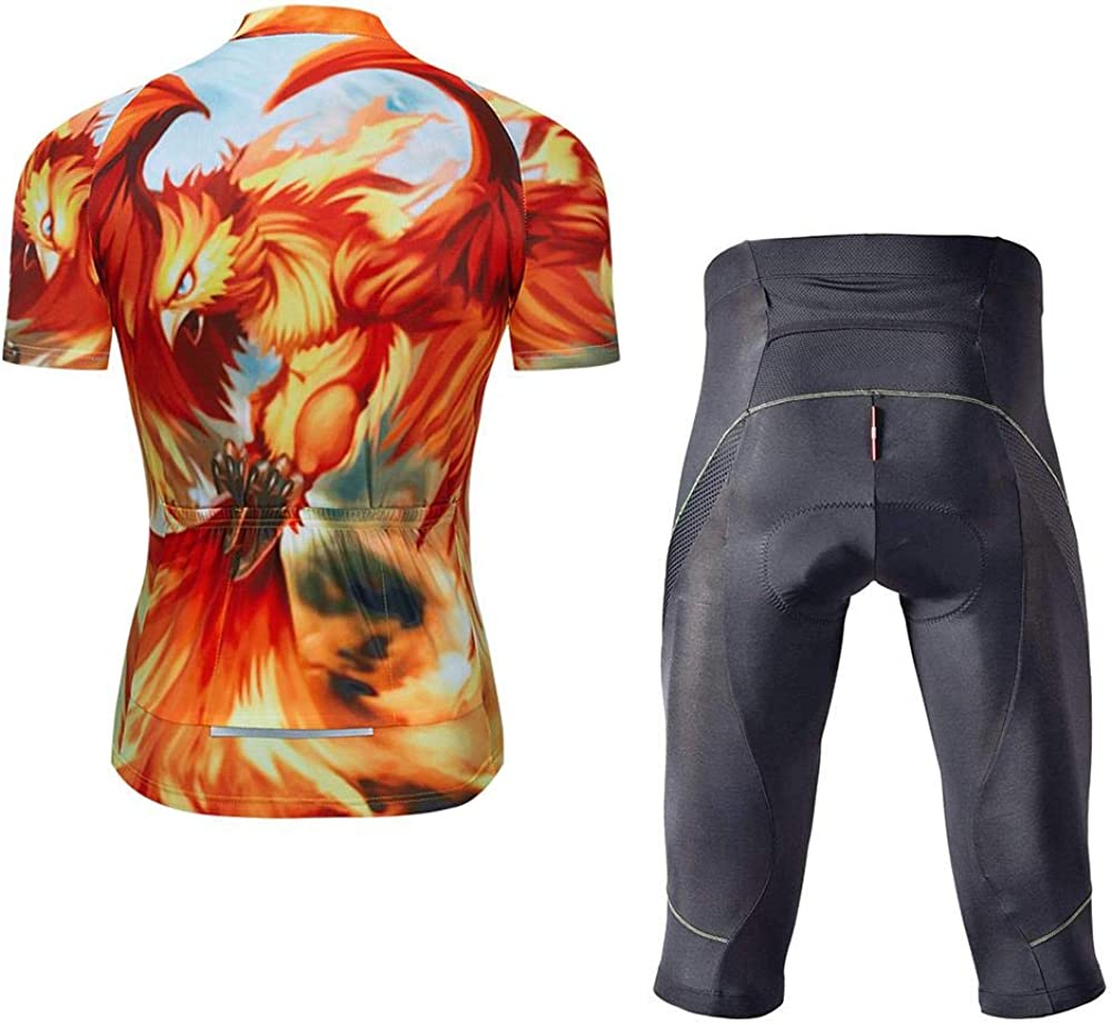 Mens Bike Clothing Set Cycling Jerseys Road Bicycle Shirts Kit Bib Shorts Quick-Dry Full Zipper Riding Clothes