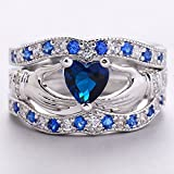 Sumanee New Wedding Womens Claddagh Ring Blue Sapphire Silver Plated Jewelry (7)
