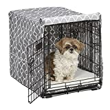 Dog Bed with Washable Cover - Midwest Homes for Pets CVR24T-GY Dog Crate Cover with Fabric Protector, Small, Gray Geometric Pattern
