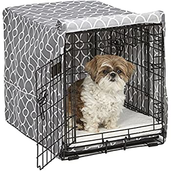Midwest Homes for Pets CVR24T-GY Dog Crate Cover with Fabric Protector, Small, Gray Geometric Pattern