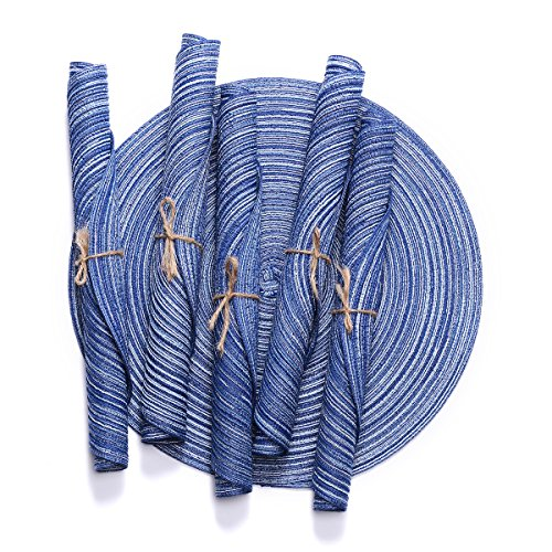 Placemats,14-Inch Round Placemats for Dining Table,Braided Placemat Set of 6,D-home (Royal)