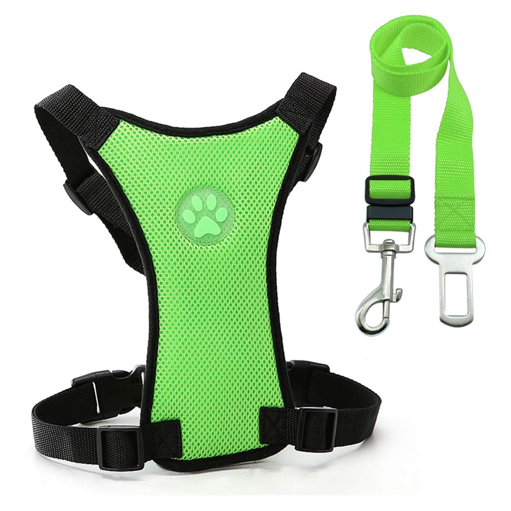 Green L Green L Jim Hugh Dog Harness Car Seat Leash Seat Safety Vehicle Dog Leash Belt Small Medium Large Pet French Bulldog Labrador