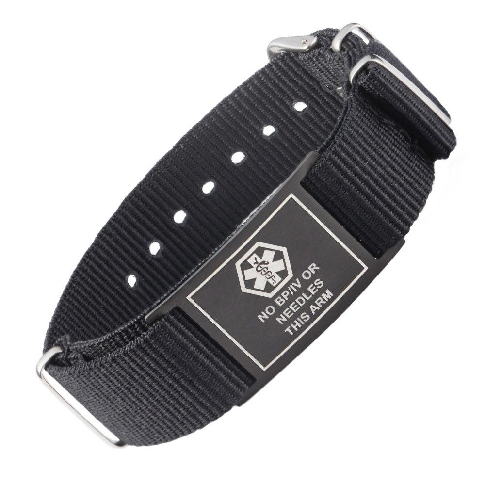 linnalove Cool Black Sports Canvas Band Medical Alert id Bracelets