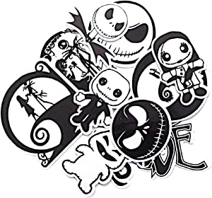 Cartoon Movie Themed Nightmare Before Christmas 12 Piece Sticker Decal Set for Kids Adults - Laptop Motorcycle Skateboard Decals