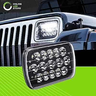 "ONLINE LED STORE OLS Universal 7"" x 6"" 45W LED Headlight with Black Housing [Plug & Play] [Energy Efficient] [Rugged] - Sealed Beam Square/Rectangular Headlight (High/Low Beams: 6/15 LEDs)"