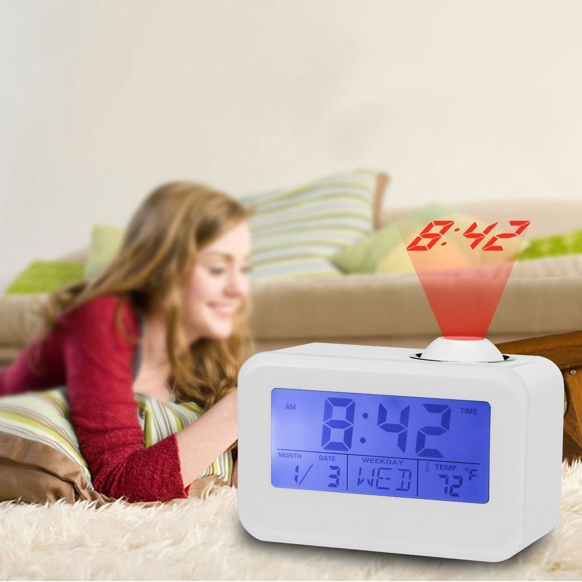 Projection Alarm Clock with Soft LED nightlight ,Snooze,Battery Backup, Auto Time Set,Sleep Timer,Indoor Time/Temperature/Day/Date Display Digital Bedside clock (1 White) Jiayingda