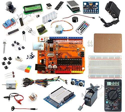 16Hertz UNO R3 Ultimate Starter Kit - LED, LCD, Breadboard, Shield, Relay, 9V Adapter, Sensor, Guide for Arduino ()