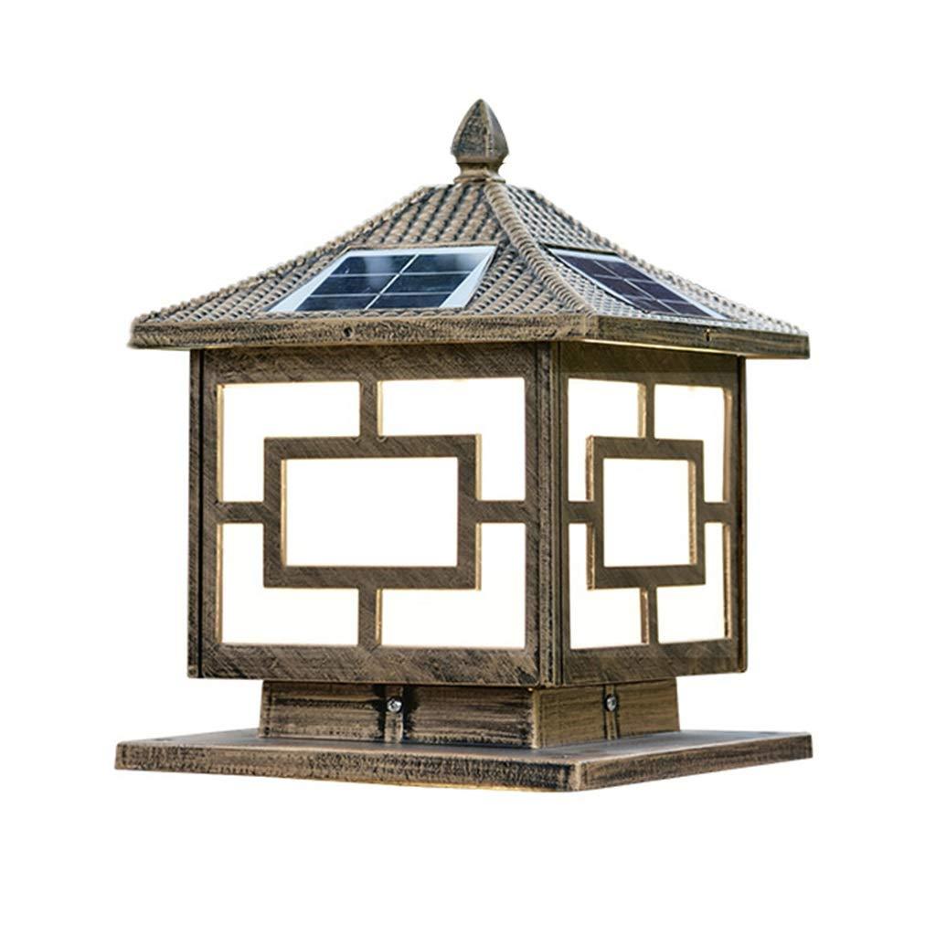 Luci solari Colonna Lampada Solare Colonna Testa A LED Home Outdoor Porta Colonna Lampada Cortile Esterno Villa Giardino Colonna Testa Lampada (Colore   Marronee, Dimensione   30  35cm)