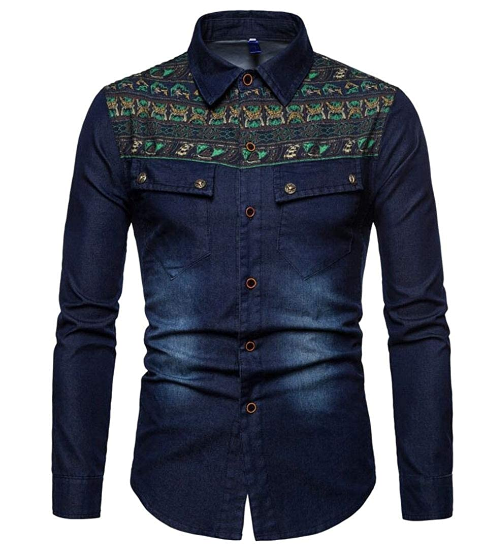 WSPLYSPJY Mens Fashion Printed Slim Fit Denim Shirt Long Sleeve Button Down Shirts