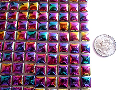 100 Colorful Iridescent Mosaic Tiles, Small Square Ceramic Tiles, Mosaic Pieces 10 mm Craft Supplies (Metallic Tiles Mosaic Mini)