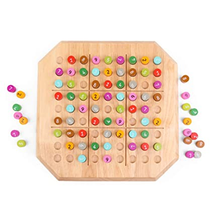 Leoie Wooden Arabic Numerals Sudoku Teaching Math Counting Board Plate Toy