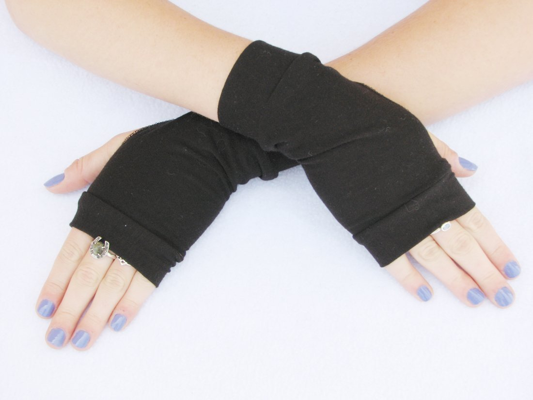 Basic Black Fingerless Gloves Eco Friendly Bamboo Costume Cosplay