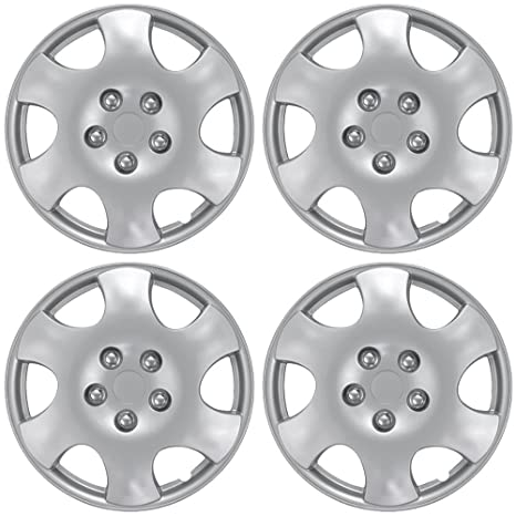 15 inch Hubcaps Best for 2003-2004 Toyota Corolla - (Set of 4) Wheel Covers 15in Hub Caps Silver Rim Cover - Car Accessories for 15 inch Wheels - Snap On ...