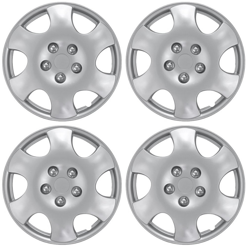 OxGord Hub-Caps for Select Toyota Corolla (Pack of 4) 15 Inch Silver Wheel Covers