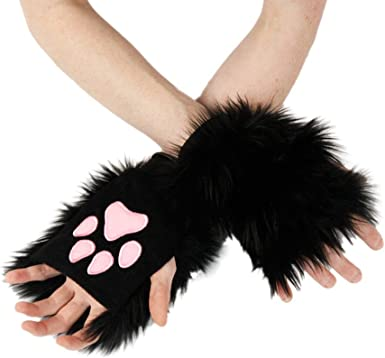 PAWSTAR Pawlets Furry Paw Cosplay Fingerless Gloves Warmers Arm Hand Black 3171