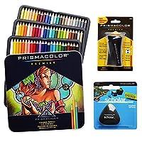 Estuche de lápices de colores Prismacolor de 72 colores surtidos, borrador de lápiz triangular académico y sacapuntas Premier