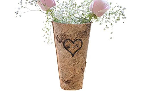 Personalized Birch Vase – Engraved Birch Vase – Wood Planter – Personalized Wedding Gift – 9 Vase – Birch Bark Vase – Anniversary Gift