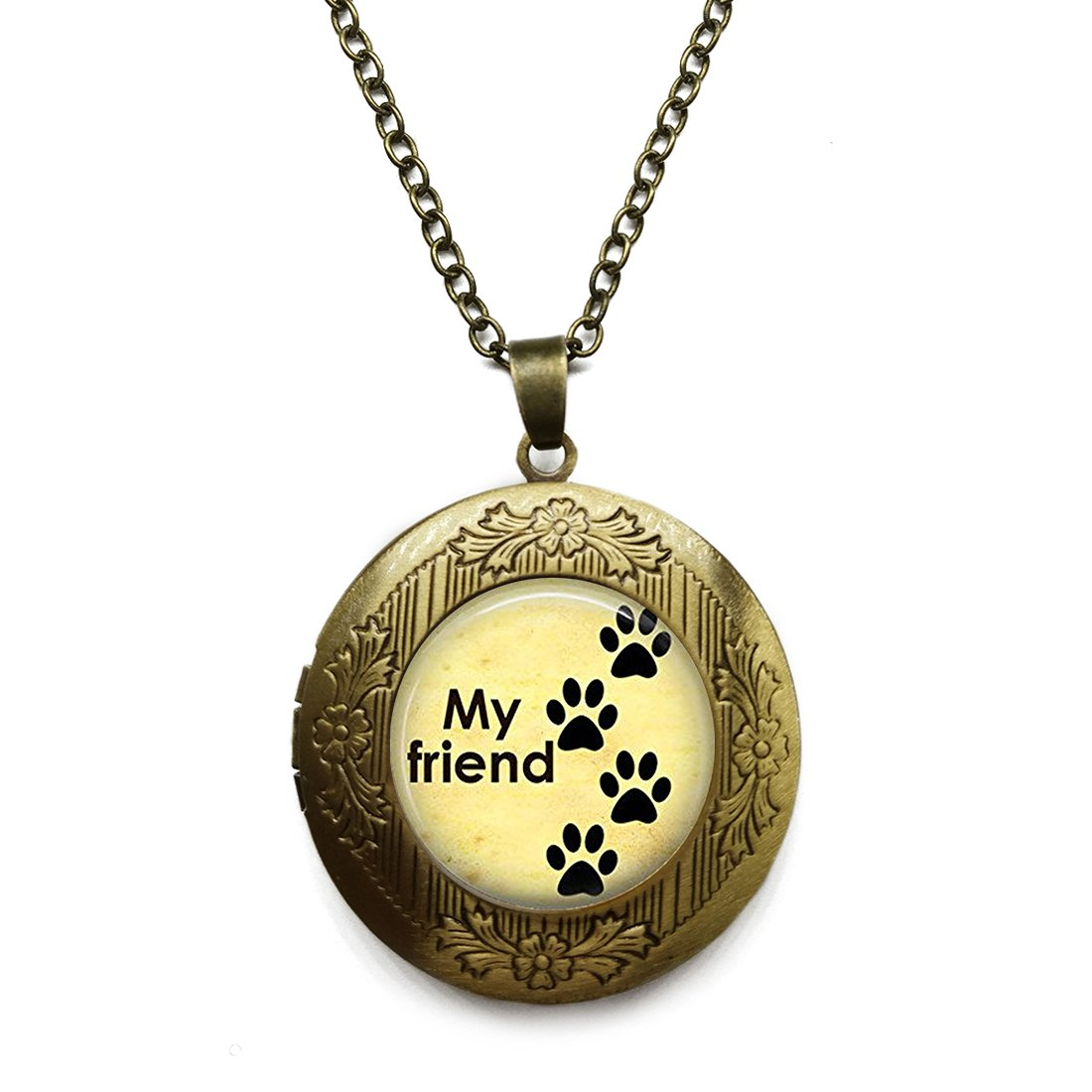 Vintage Bronze Tone Locket Picture Pendant Necklace My Friend Paw Print Glass Pendant Dog Lovers Included Free Brass Chain Gifts Personalized