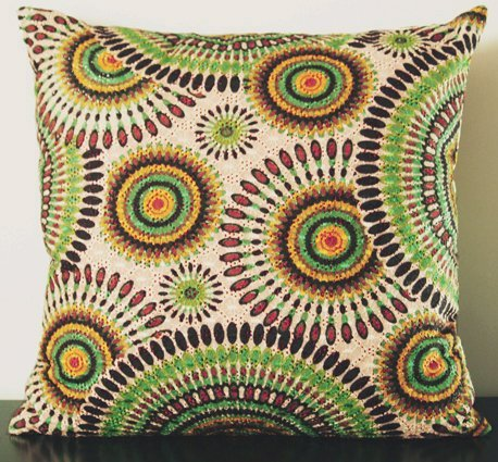 Elleweideco Openwork Embroidery Throw Pillow Cover (One Side) (16x16, Brown Green Yellow Circle)