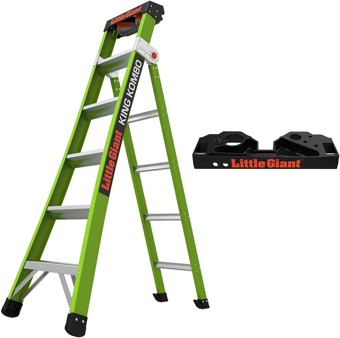 Little Giant Ladders, King Kombo, Professional, 6 Ft. A Frame, 10 Ft. Extension, with Quad Pod, Fiberglass, Type 1AA, 375 lbs Weight Rating, (13610-001)