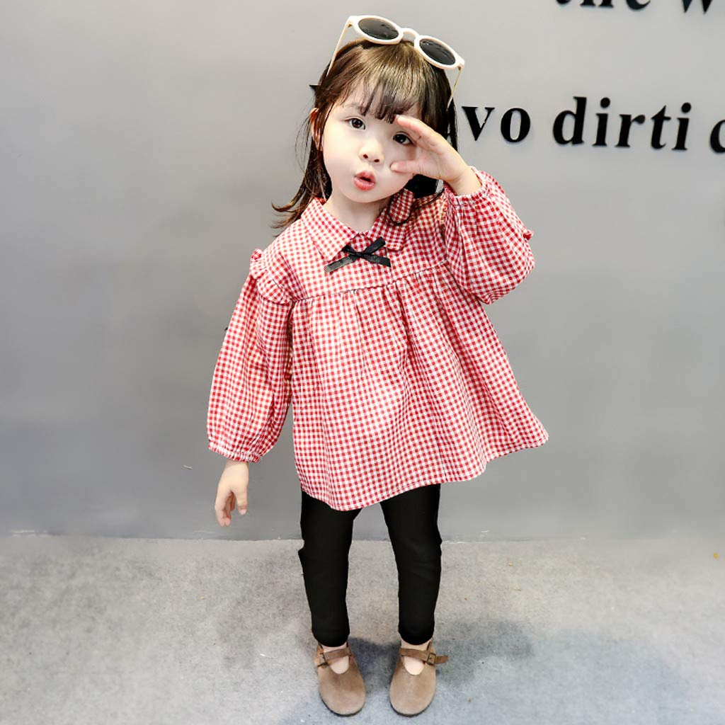 Adorable Princess Little Girls Korean Style Clothing Set 0-3T Stylish Plaid Long Sleeve Shirts+Slim Long Pants Outfits