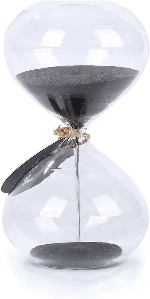 SWISSELITE Biloba 4.5 Inch Puff Sand Timer/Hourglass 3 Minutes - Black Color Sand - Inspired Glass/Home, Desk, Office Decor: Home & Kitchen