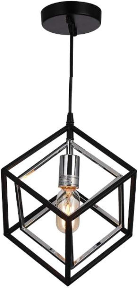11 Iron Industrial Cube Pendant Light Edison Modern Minimalist Geometric Metal Hanging Light Decoration Ceiling Light Perfect for Loft Hallway Dining Room
