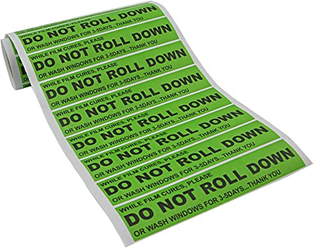 FOSHIO 100pcs//roll DO NOT ROLL DOWN Automotive Self-Adhesive Stickers Warning Label for Auto Vinyl Wraps Tool