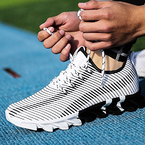 Blanco de Blanco NEOKER Trainer Para Hombre Deporte Negro Calzado Sneakers Zapatillas vTwgq5R