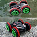 Blexy RC Cars Remote Control Boat 2.4Ghz 4WD 6CH Off Road Electric Race Powerful Amphibious Double Sided Stunt Car Tank Vehicle 360 Degree Spins and Flips Land/Water