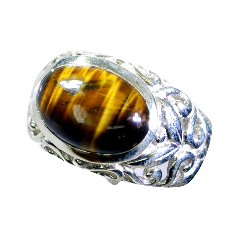 55Carat Genuine Tiger Eye Stone Ring Silver for Men Oval Shape Statement Style Size 5,6,7,8,9,10,11,12