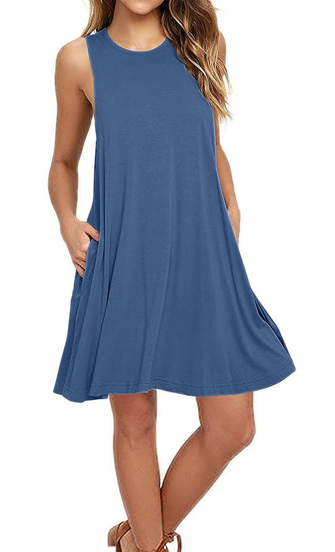 Women's Sleeveless Casual Swing Flowy Sundresses, Size Medium, Color Beja Blue